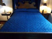 1800s Linsey Woolsey Indigo Blue Bed Coverlet All Hand Stitched Flour Leaf Clove