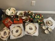 Vintage Fitz And Floyd Christmas Dinnerware Large Lot Pick Up Only