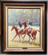 Claude Fossoux B,1946 Impressionism Oil Painting Polo Player Club