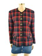 Gerry Weber Checkered Jacket With Gold Button Detailing - Uk 12