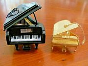 Baldwin Brass Grand Piano Goldtone Metal And Black Laquer Christmas Ornaments Exc