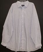 Polo Big And Tall Mens Gray Check Button-front Dress Shirt Nwt 4xlt