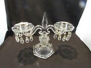 Vintage Diamond Pattern Candlesticks With Hanging Crystals Heavy Made 14andrdquo By 12