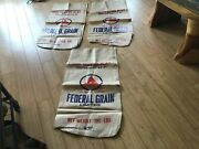 Lot Of 3 Synthetic Vintage Federal Grain Ltd. Seed Bags See Pictures