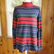 Striped Mexican Falsa Blanket Turtleneck Sweater Lambswool Large