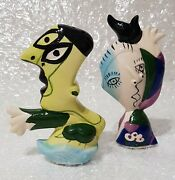 Salt And Pepper Shaker - Picasso Style - Hand Painted - Vintage - Very Rare