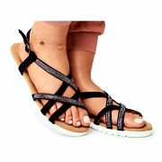 Womenand039s Lu Boo Sandals With Cubic Zirconia 406-6 Black Feen