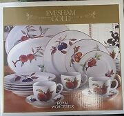 Royal Worcester Evesham Gold 24 Piece And Serving Pieces Set Made In Portugal