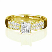 Solitaire Vs 1.25 Ct Square Cut And Accents Diamond 14k Yellow Gold Proposal Ring