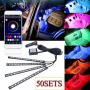 50sets Rgb 4in1 Led Car Interior Decor Atmosphere Light Strips Music App Control