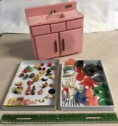 Vintage 7 Toy Kitchen Sink With 80+ Miniature Food,dishes ,pans, Accessories