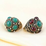 Gold Color Green Opal Crystals Rings For Women Jewelry Engagement Accessories