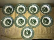 The Old Curiosity 13pc Lot 4 Soup 9 Berry Bowls Vintage Green Oil Lamp Man Pipe