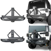 Rear Bumper W/tire Carrier And Receiver Hitch Led Light For 07-18 Jeep Wrangler Jk