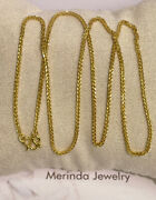 Pure 24k Solid Gold Wheat Shiny Chain Necklace. 18 Inches. 4.55 Grams