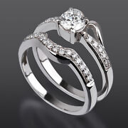 Vvs Round 1 Carats Diamond Ring Band Set 18k White Gold Solitaire + Side Stones