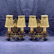 Pair Elegant Spanish Revival Antique Detailed Candle Wall Sconces W/ Shades 123c