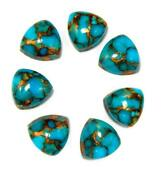Natural Blue Copper Turquoise Trillion Shape Cabochon Loose Gemstone 6mm To 10mm