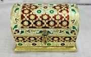 Decorative Half Round Fine Painted Wooden Box With 2 Compartment