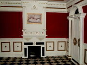 Luxury Red And Black Tiled Display Rooms For 16 Fashion Dolls