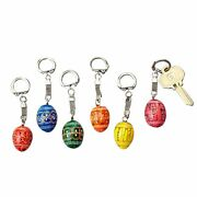 D Religious Gifts 6pc Ukrainian Wooden Hand Painted Pysanky Small Key Chains