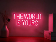 Neon Signs The World Is Yours Pink Neon Light Sign Hanging Neon Sign Real Neo...