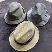 Lot Of 3 Vintage Fedora Wool And Straw Men's M 7 Milairo Hats
