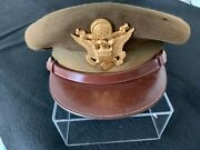Vintage Military Us Army Officers Dress Cap Hat With Badge Size Unkown N.y.