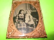 1/4 Tintype Of Young Mother And Daughter Mat And Frame Very Good