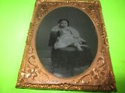 1/4 Tintype Of Young Girl In Chair Mat And Frame Very Good