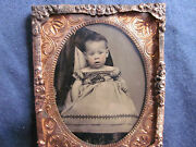 1/9 Tintype Of Baby With Revenue Stamp On Back In Mat And Frame