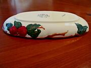 Vintage And039franciscanand039 Usa Apple And Leaves Motif Oval Relish Olive Celery Dish Exc
