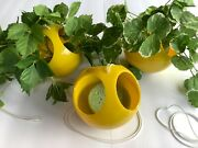 Vintage 70s Hanging Planters 3 Yellow Plastic Bubble Round Western Germany