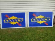2 Vintage Sunoco Service Station Signs 3and039 X 5and039 Nice