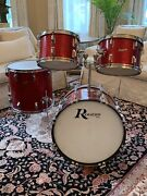 Rare Vintage 1960andrsquos Rogers 4 Piece Red Sparkle Dayton Holiday Drum Set