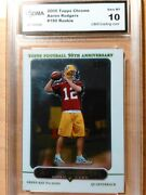 2005 Topps Chrome 190 Aaron Rodgers Graded Rookie Card. Gma Gem Mint 10