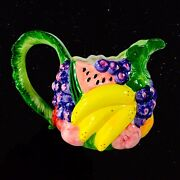 Vintage Fitz And Floyd 1988 Fruit Pitcher Japan 7andrdquot 9andrdquow Leaves Floral Ware Jug