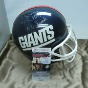 Authentic Giants Riddell Game Used Pro Helmet Signed By Phil Simms With Jsa Coa