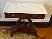 Antique Mahogany Victorian Lyre Harp Marble Top Table W A Drawers