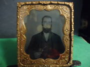 1/6 Tintype Of Gentleman Id'd As G.s. Walton In Matting And Frame