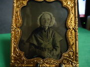 1/6 Tintype Of Older Lady With Bonnet And Spectacles In Mat And Frame