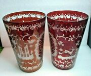 Egermann Bohemian Ruby Red Cut To Clear Castle And Deer Etched Glass Vases Germany