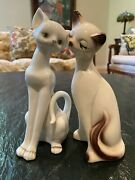 ❤️vintage Pair 2 Mid Century Siamese Cat Figurines Long Stretched Neck Blue-eye
