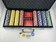 New Red Aluminum Budweiser Poker 400 Chip Set Sealed Chips Dice And Cards Keys