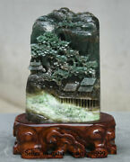 8.4 Chinese Natural Dushan Green Jade Master Carved Landscape House Statue