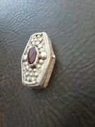 925 Sterling Silver Jeweled Vintage Snuff /pill Box