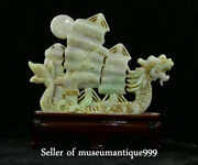 8.8 Old Chinese Emerald Jadeite Jade Carved Dragon Sailing Boat Ship Sculpture