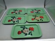 5 Vintage Metal Serving Trays Lap Patio Tray Green W/ Red And White Roses 14 X 9