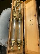 Vintage Tube Guage Glass ,brass In Wooden Case .