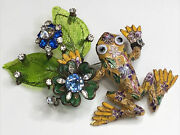 Vintage Signed Lawrence Vrba Glass And Rhinestone Cloisonné Frog Brooch Pin Wow